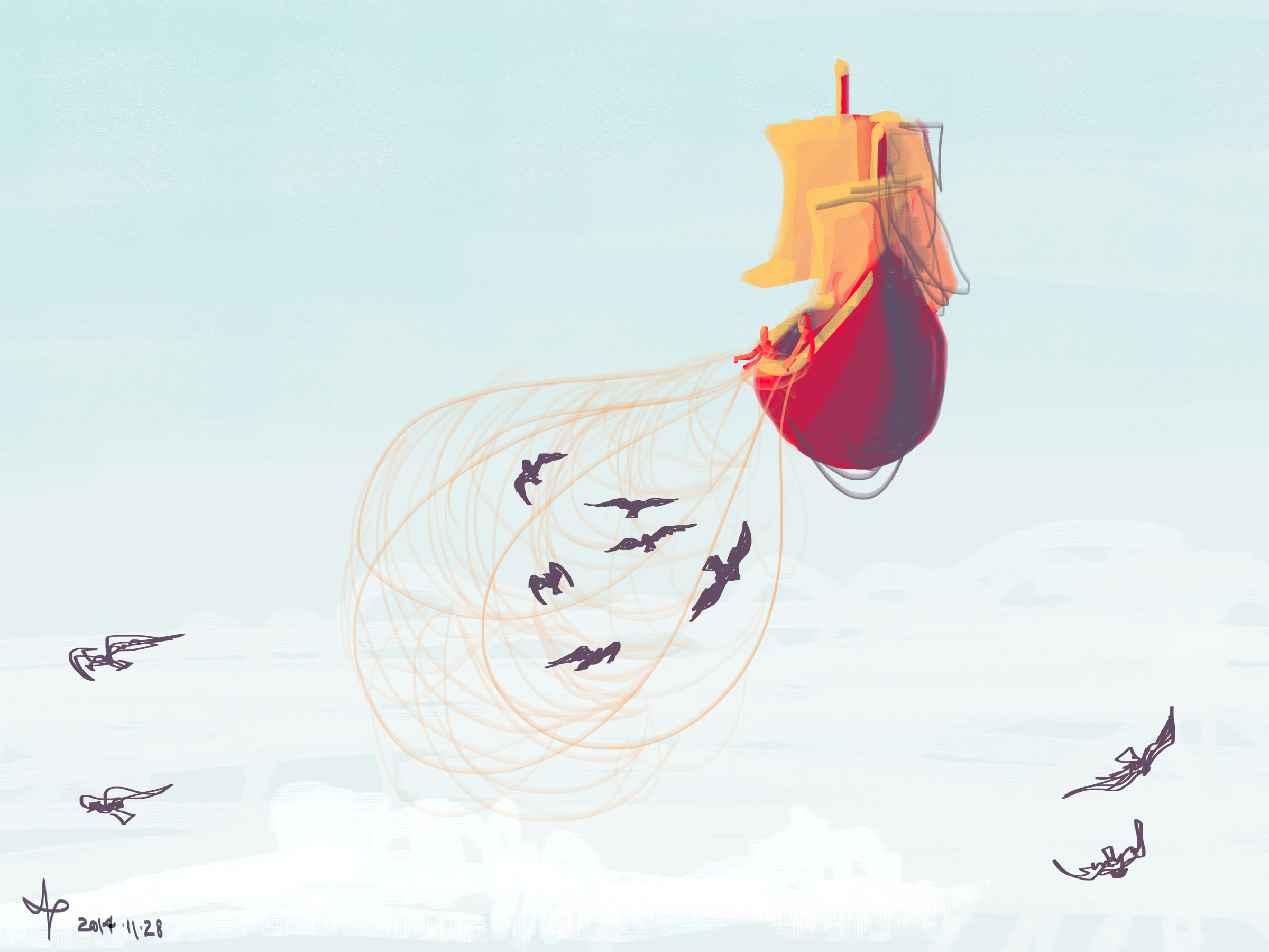 A digital painting of a flying pirate ship throwing a net out to catch crows.