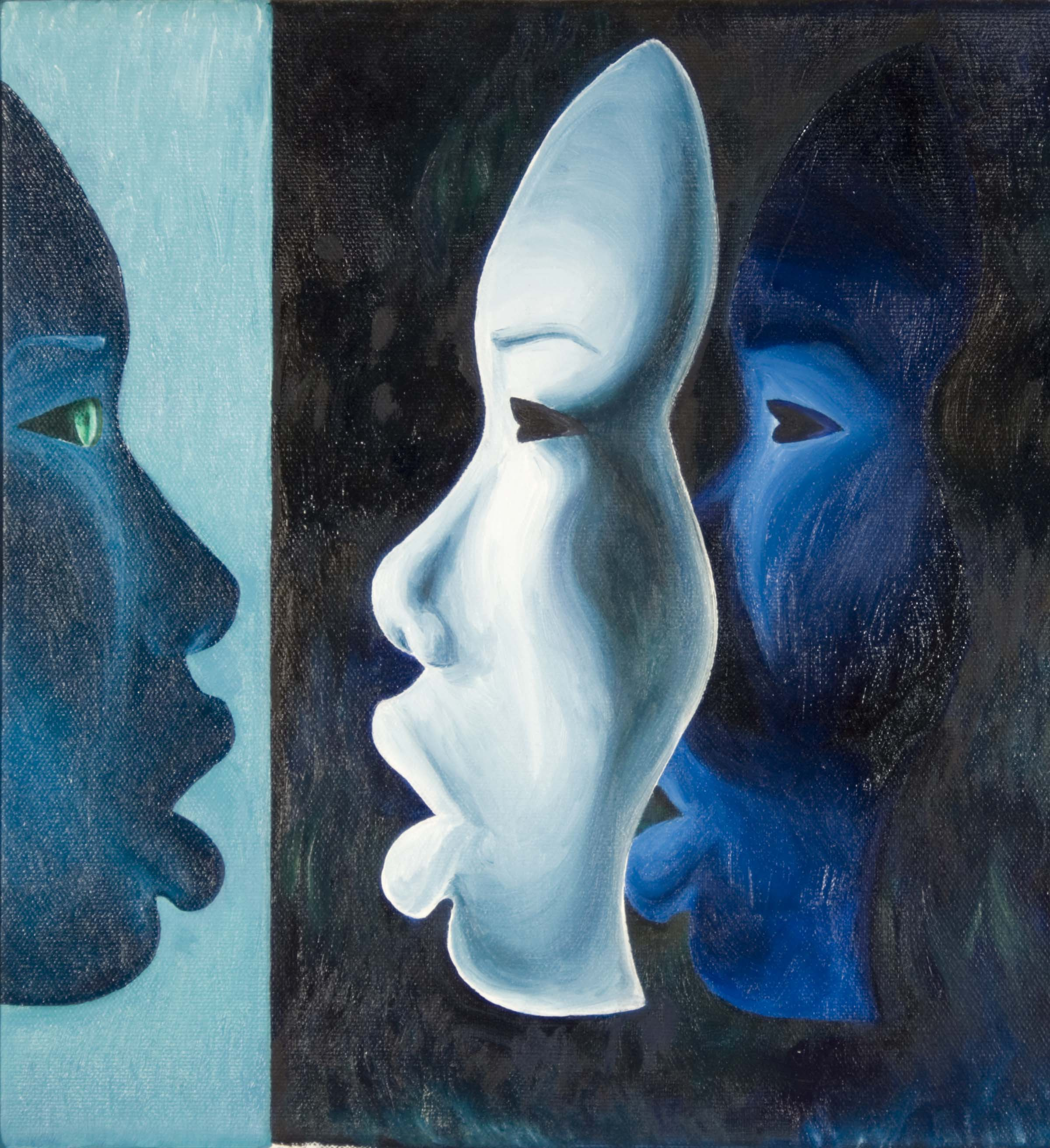 A painting of the silhouette of a face looking at two stacked masks in its likeness. The title and piece are inspired by Aubrie's diagnosis of infantile-onset facioscapulohumeral muscular dystrophy.