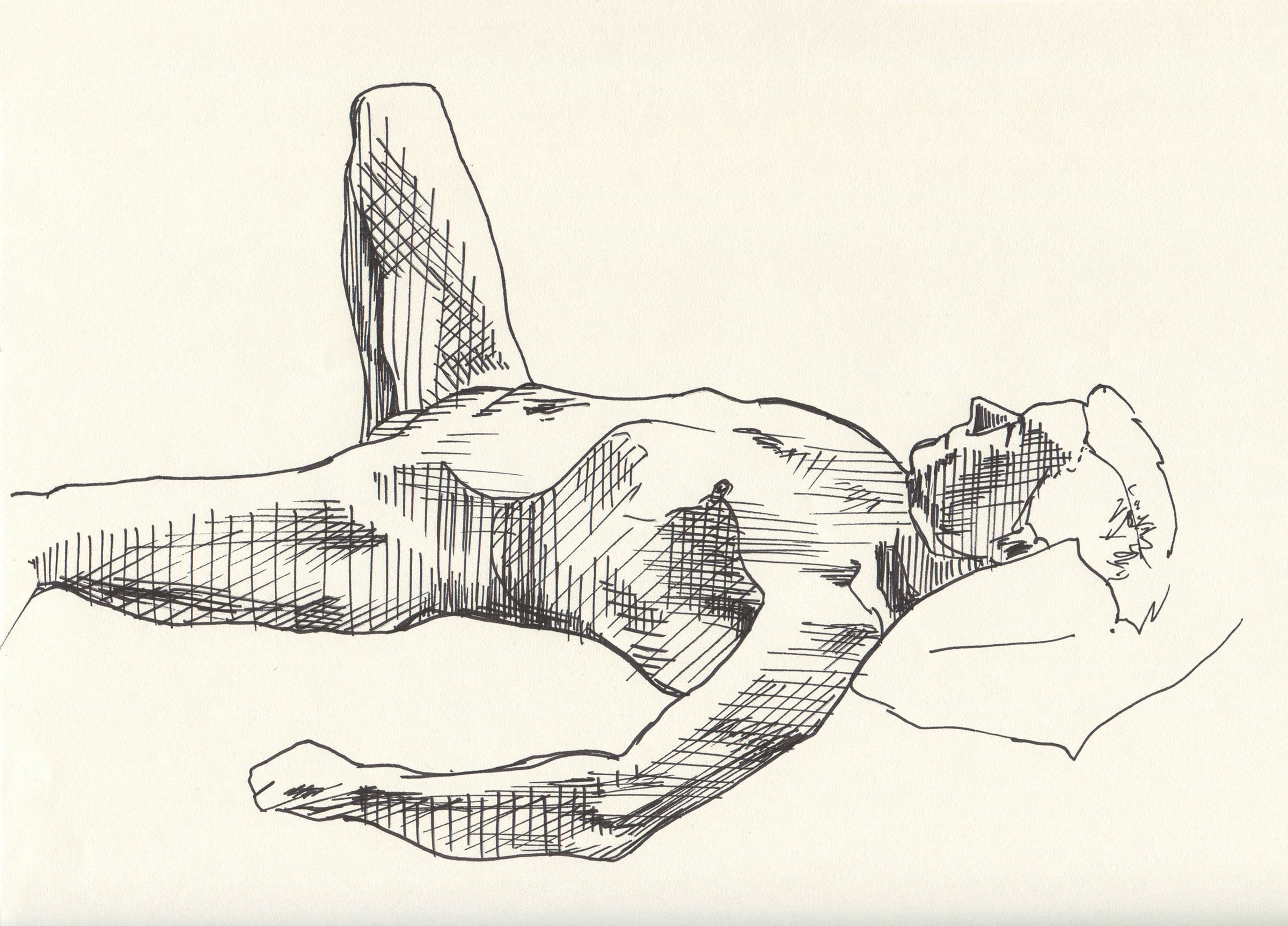 A drawing of a man lying down.