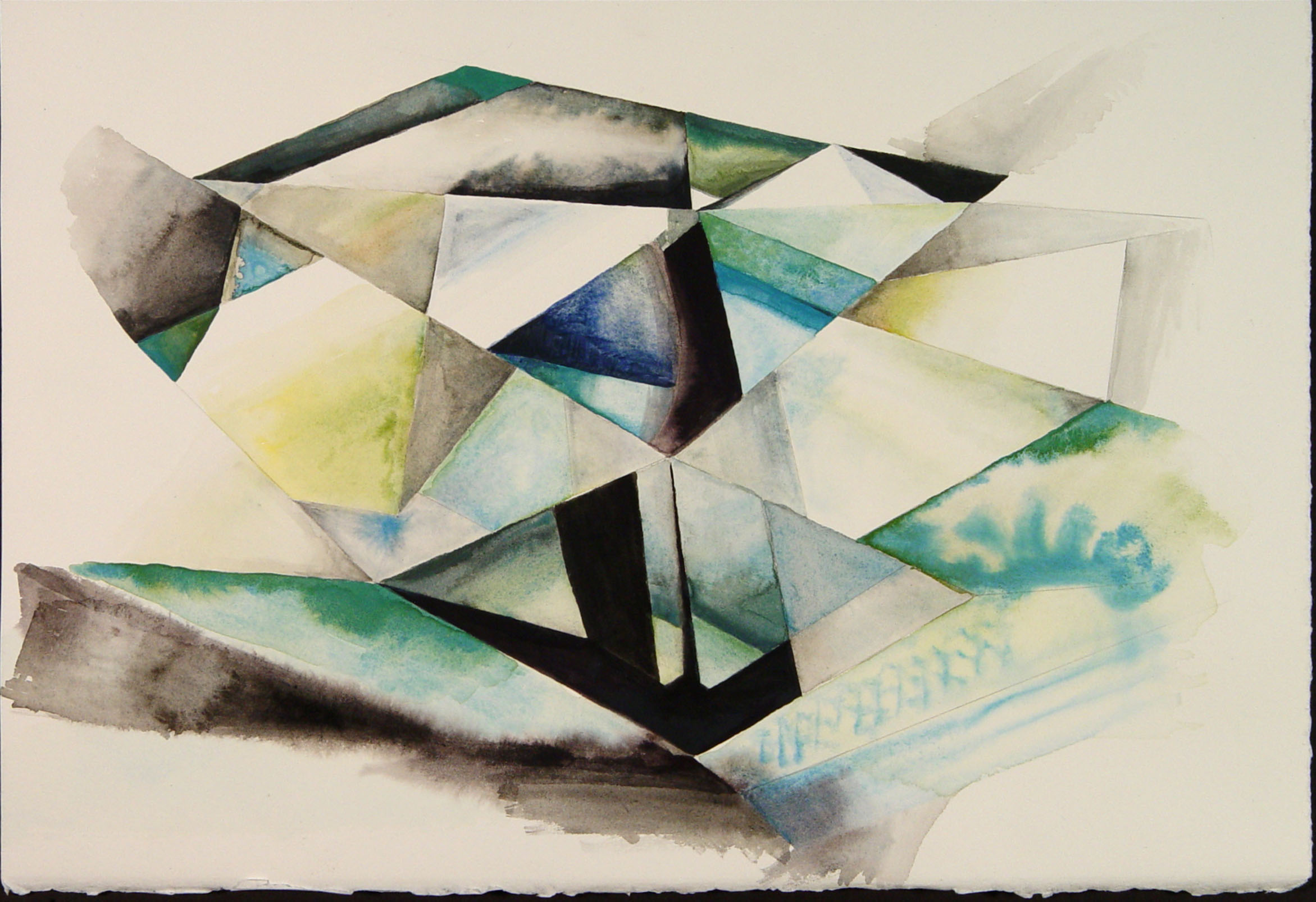 A painting of intersecting planes and angles.
