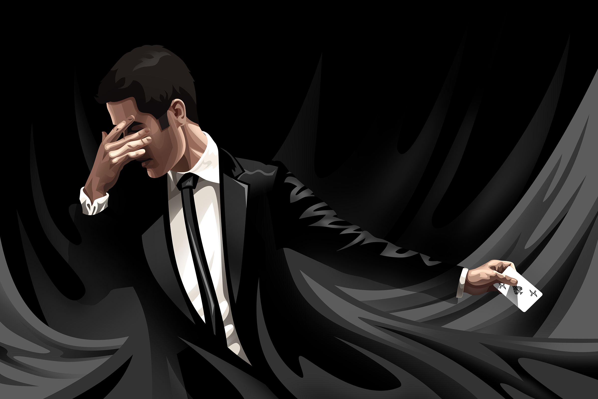 A vectored portrait of the magician David Kwong. He holds his hand over his eyes as he summons a playing card.