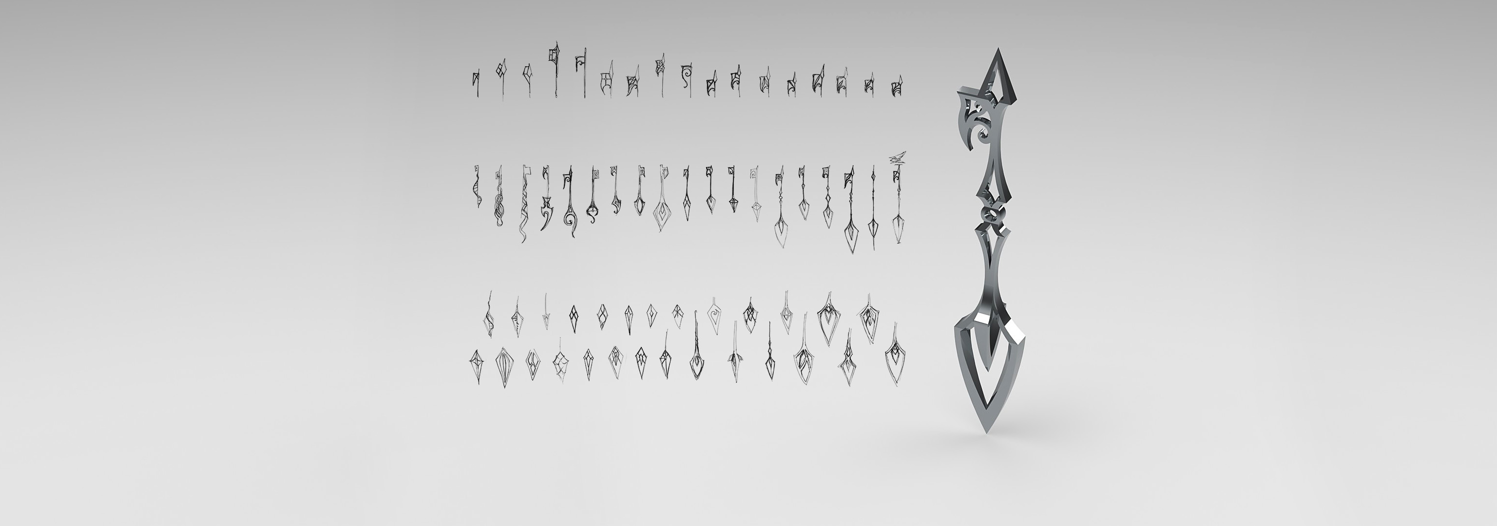 One 3D model and dozens of sketches of skeleton keys.