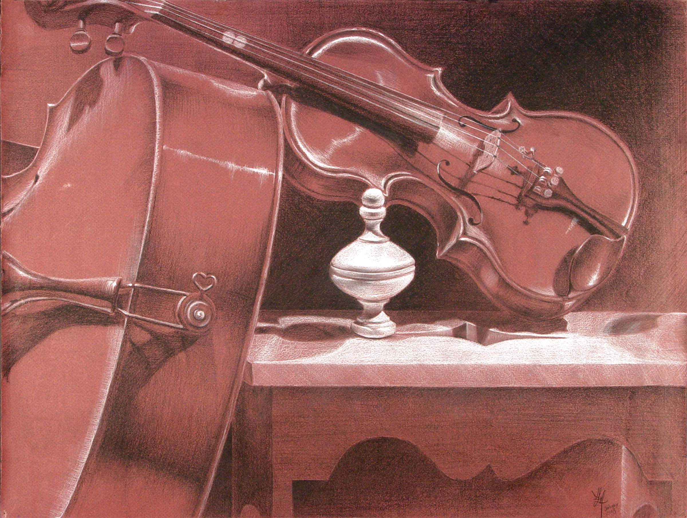 A drawing of a violin resting on a cello and framing a bottle that itself looks like something out of sheet music.