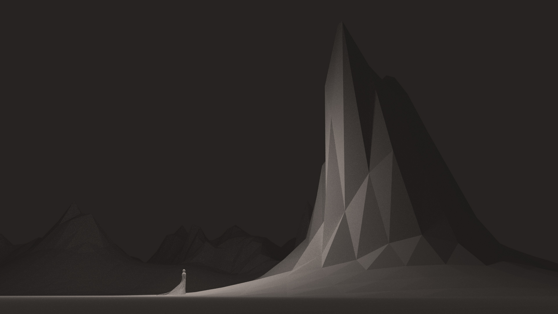 A low-poly rendition of a small figure facing a tall mountain.