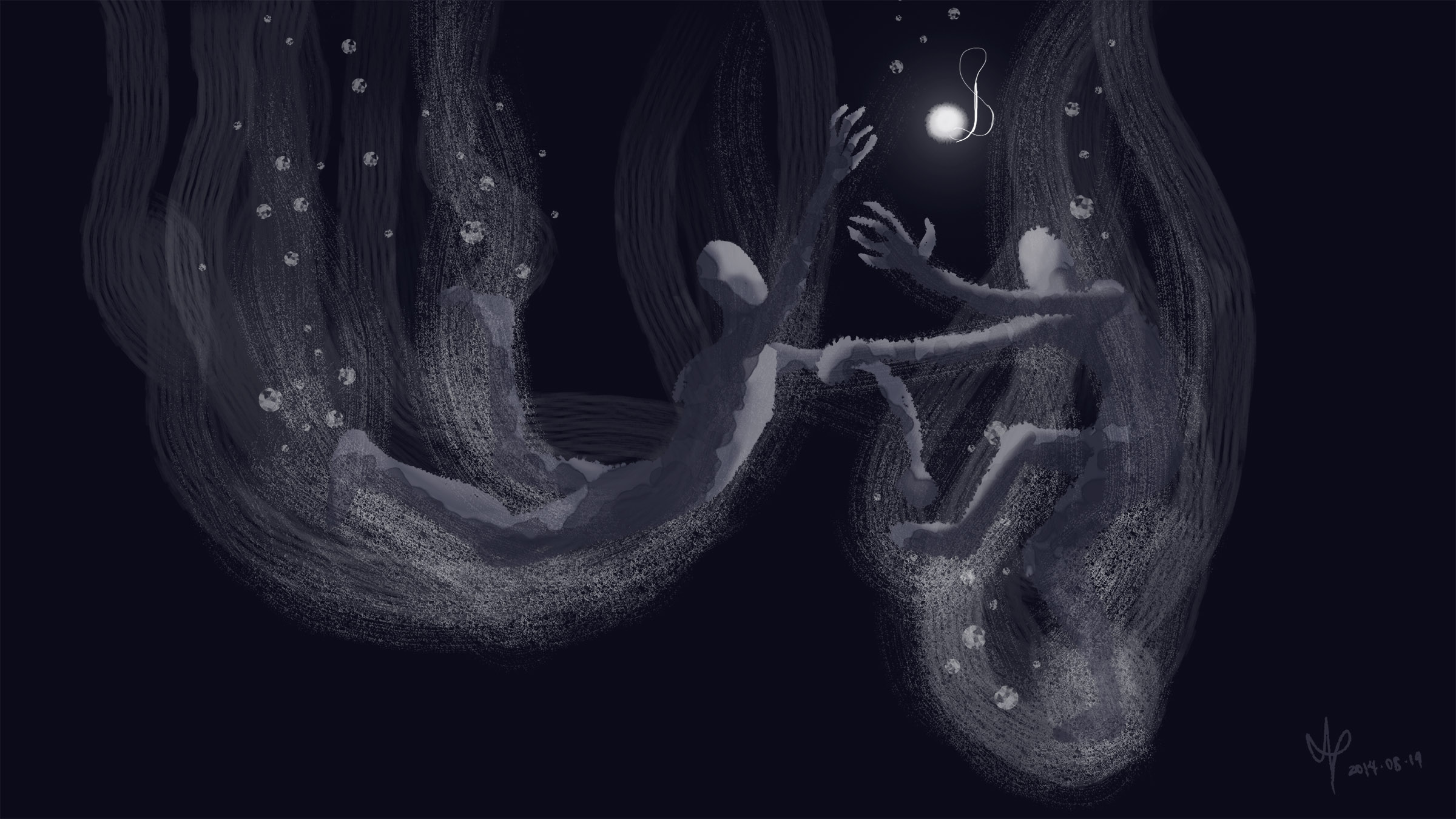 A digital painting of two figures grappling underwater for possession of a glowing necklace.